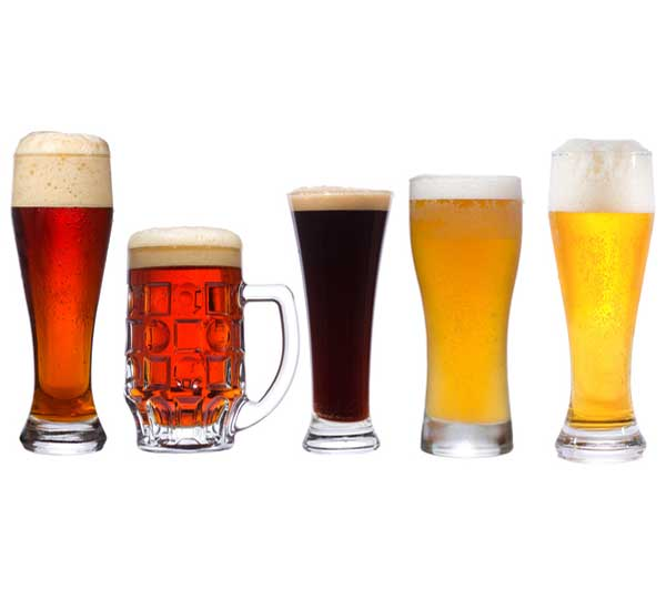 beer types in various glasses / mugs / colours