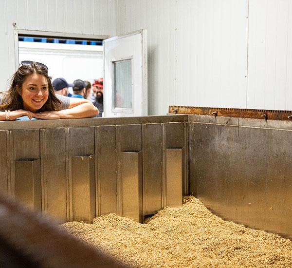 megan looking at barley being processed